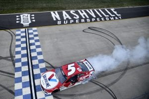 LEBANON, TENNESSEE - JUNE 20: Kyle Larson, driver of the #5 Valvoline Chevrolet, celebrates with a burnout after winning the NASCAR Cup Series Ally 400 at Nashville Superspeedway on June 20, 2021 in Lebanon, Tennessee. (Photo by Logan Riely/Getty Images)   Getty Images