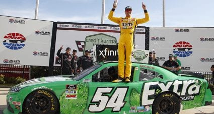 Kyle Busch emerges from late tangle with Hemric, lands 102nd Xfinity win at Atlanta