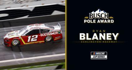 Ryan Blaney nabs Busch Pole Award for Darlington playoff race