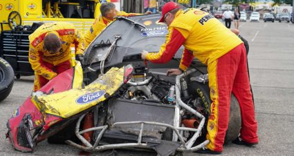 Multi-car wreck brings out red flag after curbing comes apart