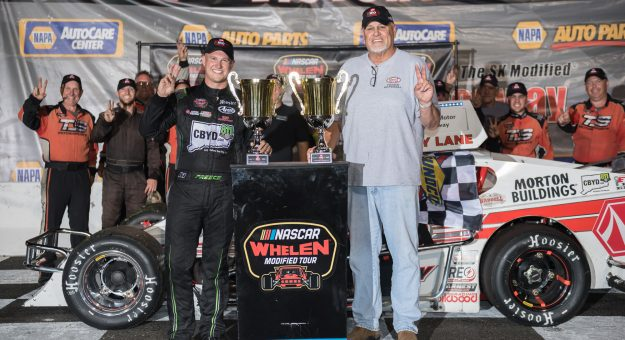 Ryan Preece, driver of the #6 Riverhead Raceway Chevrolet, after winning the GAF Roofing 150 presented by Riverhead Building Supply for the NASCAR Whelen Modified Tour at Stafford Motor Speedway in Stafford Springs, Connecticut on August 6, 2021. (Adam Richins/NASCAR)