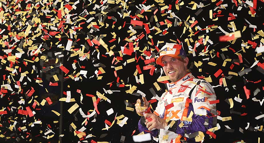 Pressure off: Denny Hamlin rides well-timed playoff surge after Vegas victory - NASCAR