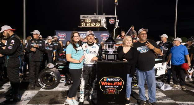 Justin Bonsignore, driver of the #51 Phoenix Communications Chevrolet, celebrates after winning the NAPA Fall Final for the NASCAR Whelen Modified Tour at Stafford Motor Speedway in Stafford, Connecticut on September 25, 2021. (Ryan McBride/NASCAR)